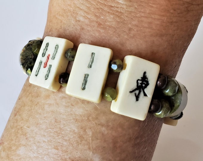Mahjong Stretch Bracelet w/Small Rectangular Beige Mah Jong Tiles, Earthy Unikite Green & Peach Beads