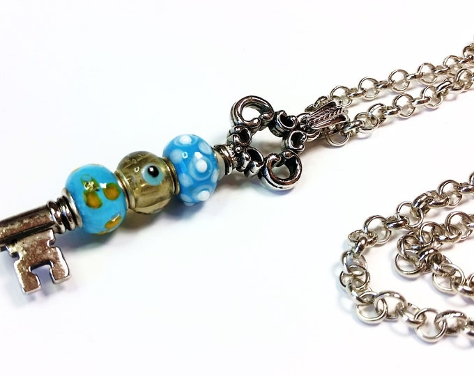 Aqua Beaded Key Pendant with Long, Adjustable Length, Stainless Steel Rolo Chain - Vintage Look Key Pendant with Aqua Lampwork Beads