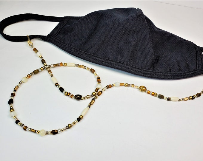 Beaded Facemask Leash/Lanyard with Neutral Pearl and Golden Toned Beads - Leash Converts to Necklace or Bracelet for Multi-Uses