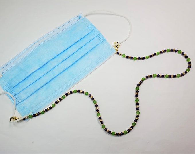Purple, Green and Gold Facemask Leash that Converts to Necklace