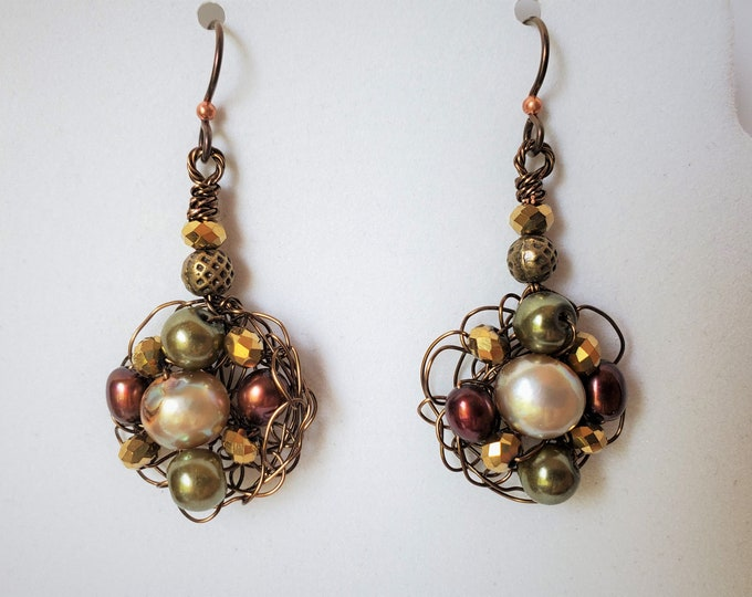 Autumn Toned Wire Crocheted Earrings with Antique Brass Wire and Pearls of Golden and Coppery Tones on Hypoallergenic Ear Wires
