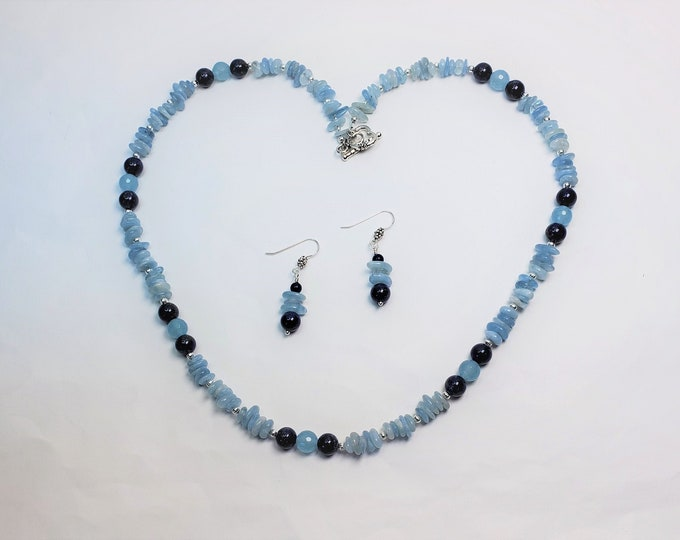 Peaceful Aquamarine with Lapis Necklace and Earrings Set - Light and Dark Blue Necklace Set - March Birthstone Jewelry