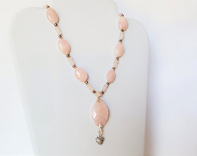 Rose Quartz Oval Faceted Pendant with Silver Textured Heart Dangle on Strand of Rose Quartz Beads