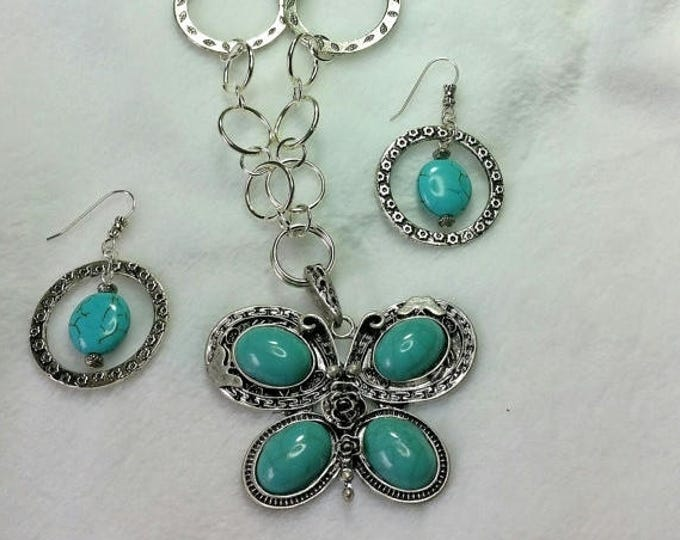 Butterfly Pendant Set - Turquoise Jewelry - Hand Made Chain - Turquoise Necklace and Earrings