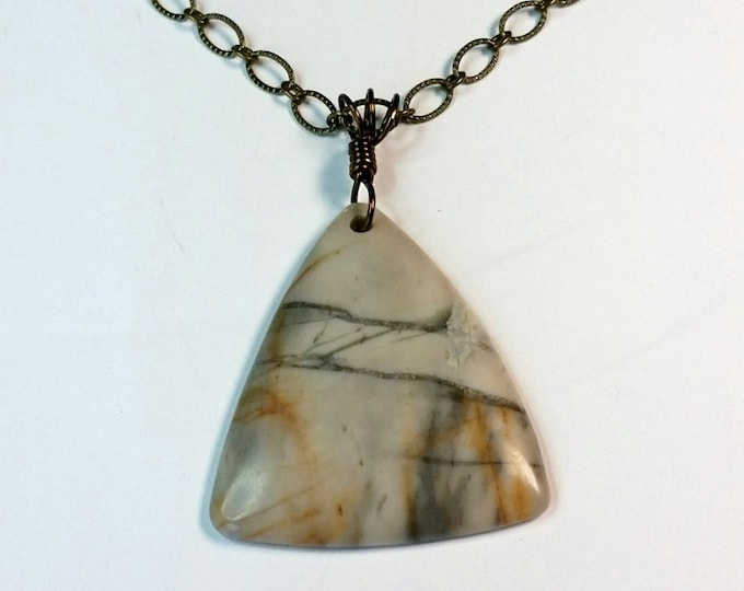 Triangular Picasso Picture Jasper Pendant on Antique Brass Chain