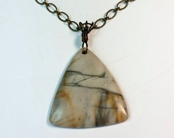 Triangular Picasso Picture Jasper Pendant on Antique Brass Chain - Stone that Looks Like Brush Painting Pendant