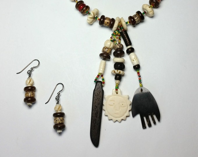 African Inspired Friendship Necklace with Fun Fringe Dangles and Matching Drop Earrings