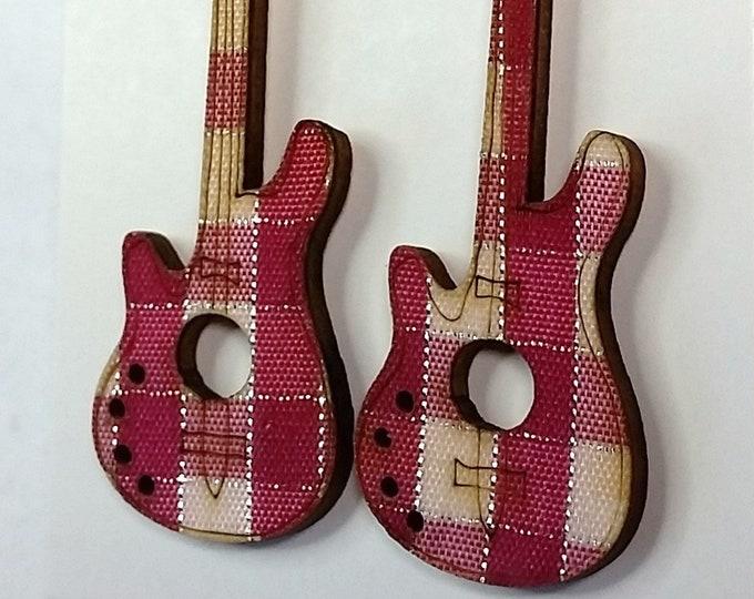 Perky Punky Pink Plaid Electric Guitar Dangle Earrings - Rock Music Themed Earrings