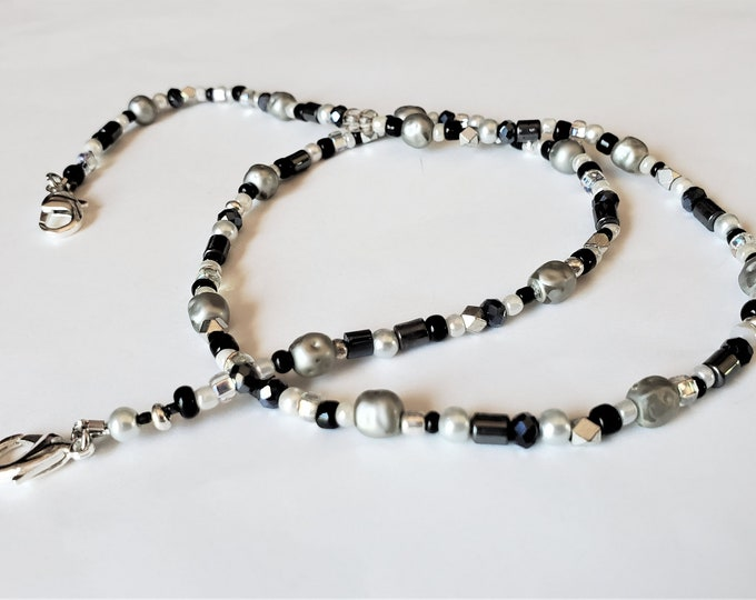 Black, White and Silver Beaded Face Mask Leash Converts to Necklace - Handy Mask Lanyard Also can be Worn as a Necklace