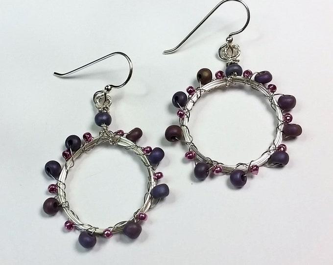 Purple-ish Pink-ish Small Hoop Earrings on Sterling Silver Ear Wire - Handmade Hoop Earrings with Pink and Purple Beads