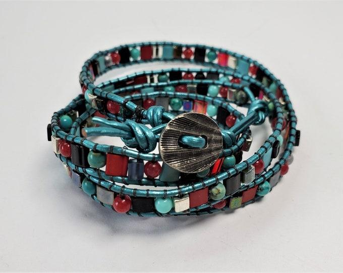 Quadruple Wrap Bracelet Supple Aqua Leather Bracelet with Turquoise, Red Jade, and Glass Beads - Red, Aqua, Silver and Black Wrap Bracelet