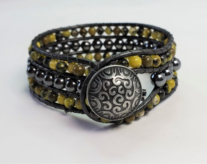 Charcoal Leather Narrow Cuff with Magnetic Hematite and Chartreuse Serpentine Beads - 3 Row Cuff Bracelet with Antique Silver Button Clasp