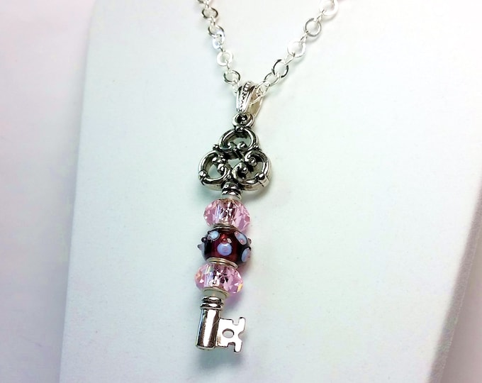 Pink and Purple Beaded Key Pendant on Long Adjustable Length Silver Plated Chain - Vintage Looking Pendant