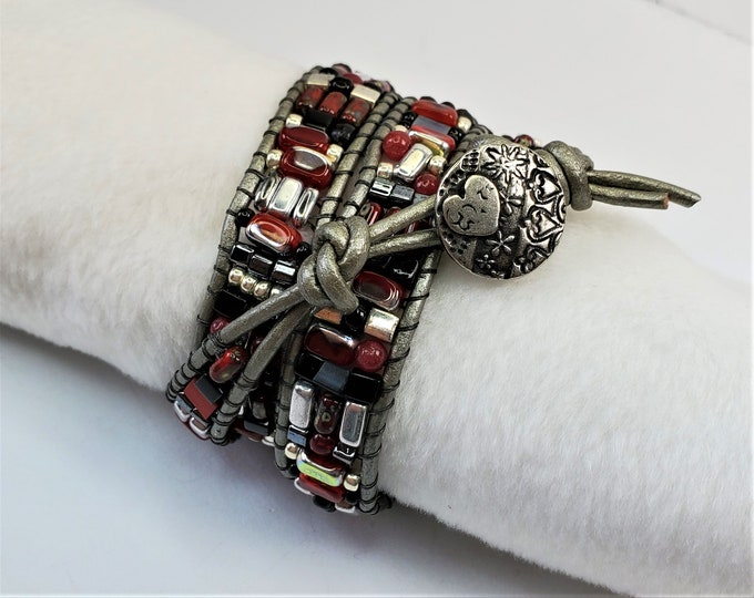 Red, Black and Silver Triple Wrap Bracelet with Vintage Czech Glass Beads - Silver Leather Triple Wrap Bracelet