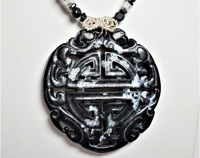 Black and White Serpentine Pendant with Prosperity Symbol Carved Into it with Black and White Mosaic Shell Earrings Jewelry Set