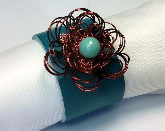 Teal Leather Cuff - Leather Cuff with Antique Copper Wire Flower - Leather Bracelet - Flower Theme Bracelet