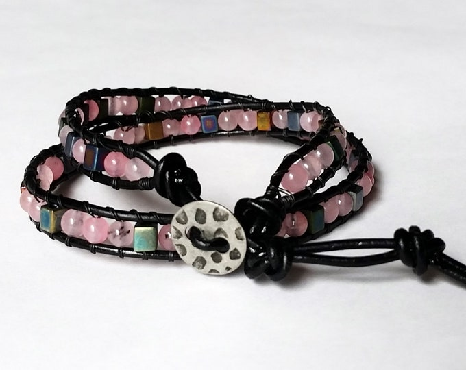 Cherry Quartz Pink Double Wrap Bracelet - Adjustable Wrap Bracelet - Wrap Bracelet fits Adults or Children