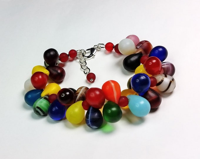 Bubbly, Colorful Glass African Wedding Bead Bracelet with Extender Chain - Rainbow Kaleidoscope of Color Glass Teardrops Bracelet