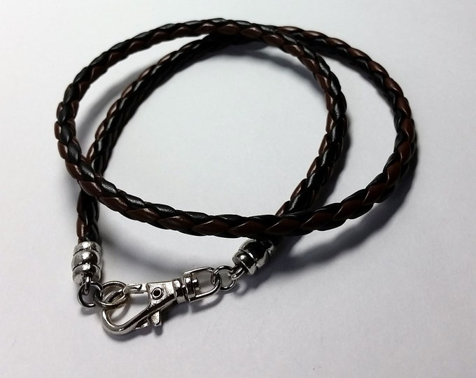 Braided Brown and Black Leather Wrap Around Bracelet with Swivel Lobster Clasp Wraps Twice Around Most Wrists