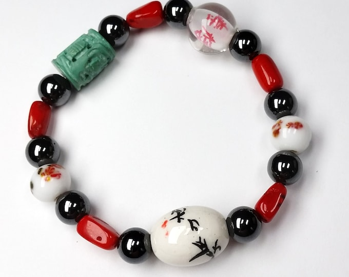 Stackable Asian Beads with Red Coral and Magnetic Hematite Stretch Bracelet - Red, White and Black Stretch Bracelet