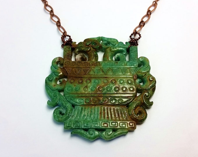 Carved Jade Pendant with Dragon Motifs on Copper Chain - Green and Caramel Brown Asian Style Jade Pendant with Handmade Twisted Wire Bail