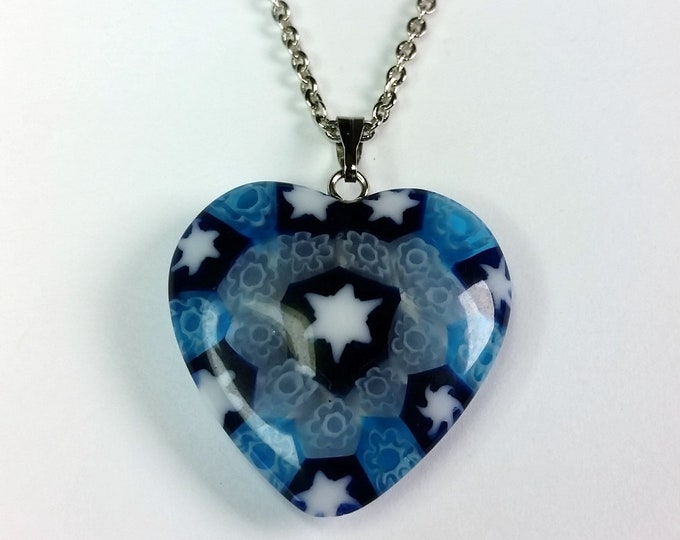 Venetian Glass Heart Pendant with Star of David in Center on Adjustable Length Chain - Shades of Blue Venetian Glass Heart Pendant Necklace