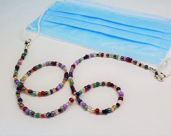 Beaded Face Mask Leash/Lanyard MultiColored ,Converts to Necklace or Wrap Bracelet - Silver Plated Connectors - Convertible Multiuse Jewelry