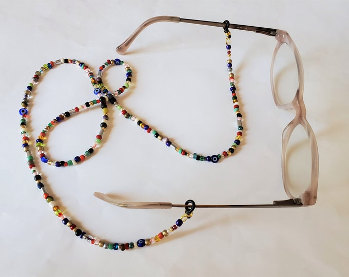 Leash/Chain for EyeGlasses in Multicolored Beads - 31 Inch Eye Glass Lanyard