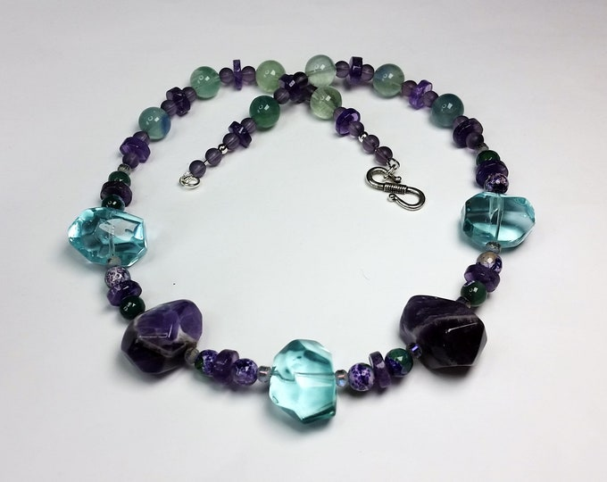 Amethyst, Fluorite, Agate and Crystal Necklace and Earrings - Purple and Aqua Natural Stones with Crystal Accents Jewelry Set