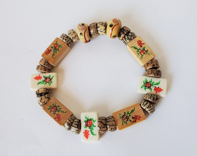 MahJong Flower Tile Stretch Bracelet - Tiny Bamboo and Bone Flower Motif Ties along with Betel Nut and Ceramic Beads Bracelet