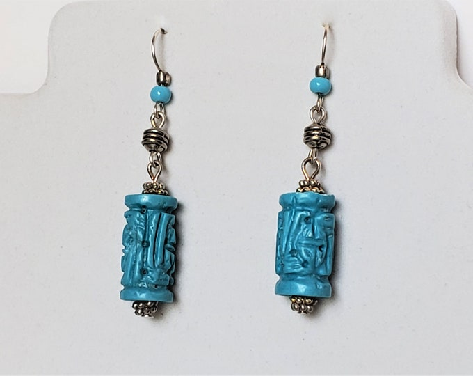 Carved Turquoise Double Drop Dangle Earrings, Turquoise Tube Shaped Cylinder Earrings, Suspended by Sterling Silver Ear Wires