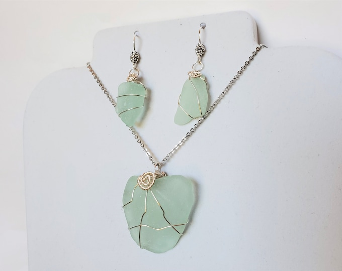 Heart Shape Sea Glass Pendant Set in Pale Green - Nature Sculpted and Frosted Sea Glass Pendant & Earrings - Wire Wrap Beach Glass Jewelry