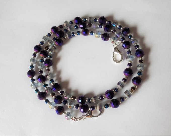 Sparkling Deep Purple Crystals Beaded Facemask Leash Converts to Necklace or Bracelet - Multiuse Beaded Leash/Lanyard/Necklace/Bracelet