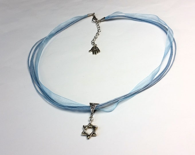 Star of David Pendant on Sky Blue Ribbons - Adjustable Necklace with Hexagram Pendant - Talisman Jewelry