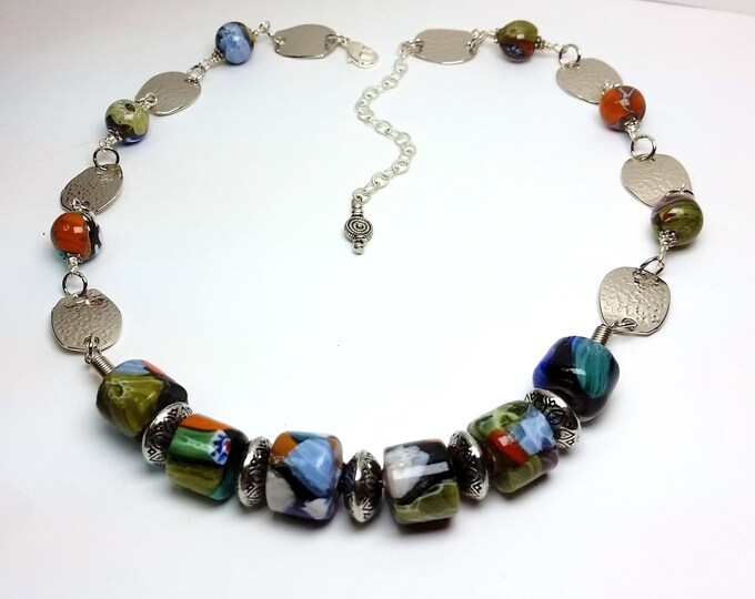 Millifiore Style Glass Beads with Wavy Oval Hammered Metal Links, Adjustable Length Necklace - Avant Garde Glass Bead & Metal Link Necklace
