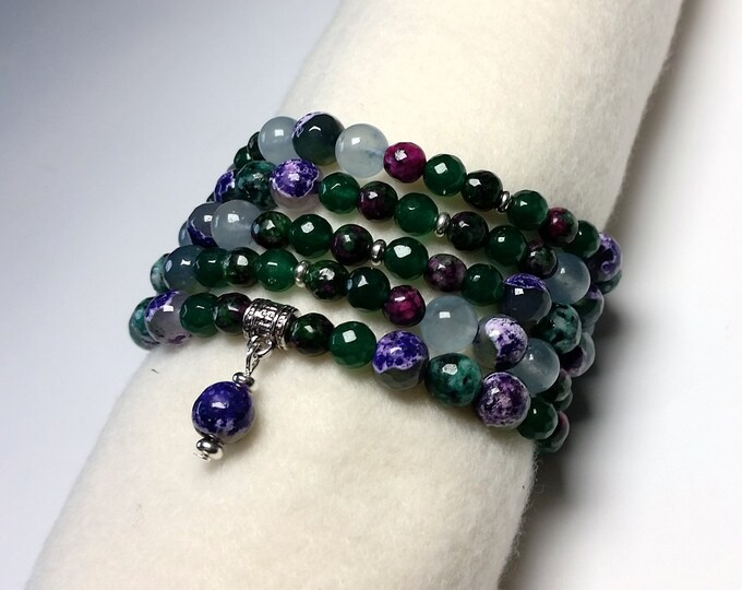 Purple and Green Mala Bracelet or Necklace Wraps around Wrist Like a Cuff 5X or Wear as a Single or Double Strand Necklace