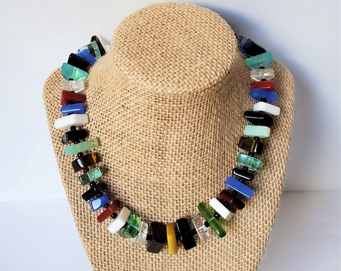 Rainbow Cascade of Colors Art Glass Necklace - Surrounded-in-Colors Necklace, w/Flat,Angular, Polished  Polygon Glass Jewelry