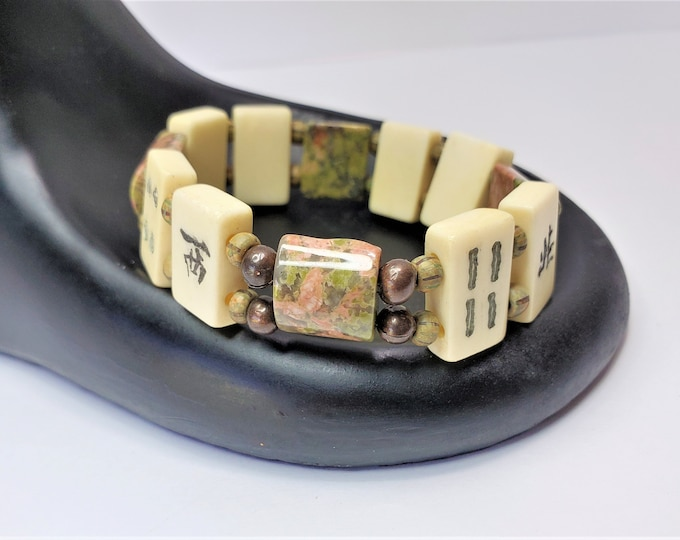 Mah Jong Tile Bracelet with Earthy Unikite Beads Comfortably Fits Smaller Wrists - Lucky Stretch Bracelet to Wear to Mah Jong Game