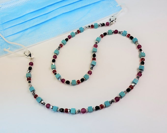 Beaded Facemask Leash in Turquoise, Red, Silver and Black Converts to Necklace or Bracelet - Multi Use Facemask Leash Can be Used as Jewelry