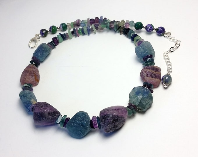 Purple and Aqua Matte Finish Fluorite Stone Beads Necklace with Adjustable Length - Fluorite both Polished and Matte Finished Necklace