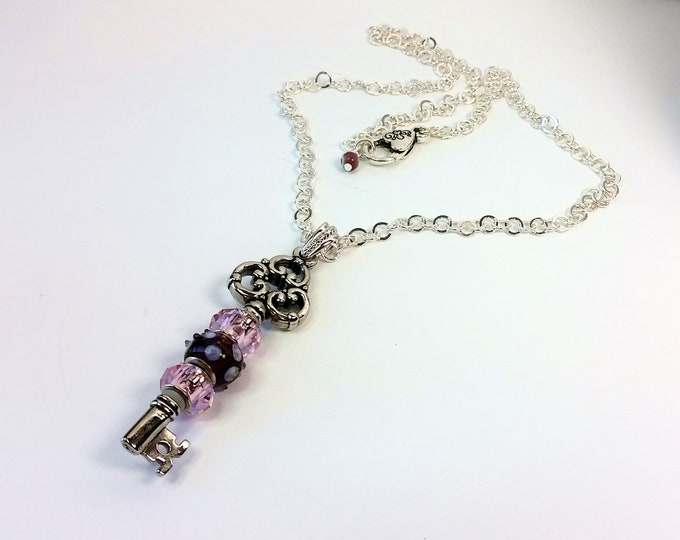 Pink and Purple-ish Beaded Key Pendant on Adjustable Length Silver Plated Rolo Chain