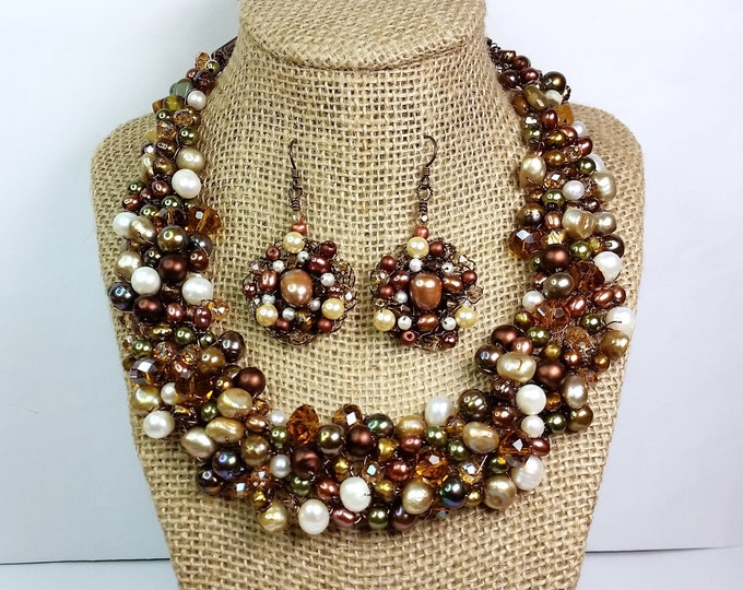 Fall Colors Wire Crochet Collar Necklace & Earrings - Sparkling Adjustable Length Autumn Tones w/Pearls and Crystals Wire Crocheted Set