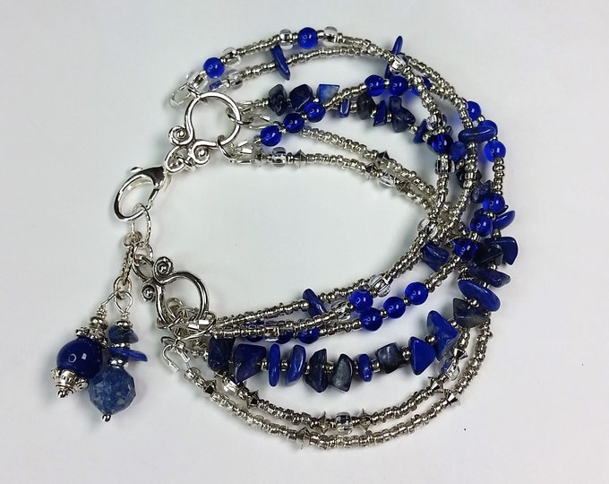 Adjustable Lapis Bracelet with Six Strands - Multi Strand Bracelet with Lapis and Silver Beads