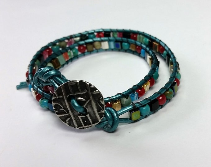 Teal Leather Double Wrap Bracelet with Turquoise, Red, Black and Metallic Beads - Adjustable Length Wrap Bracelet with Teal Leather