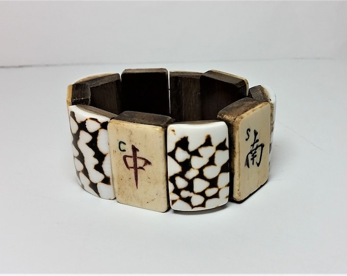Vintage Mah Jong Tile Stretch Bracelet w/Tiger Brown Spotted White Shell Links - Full Size Bone Mah Jong Tile Bracelet with Shell Links