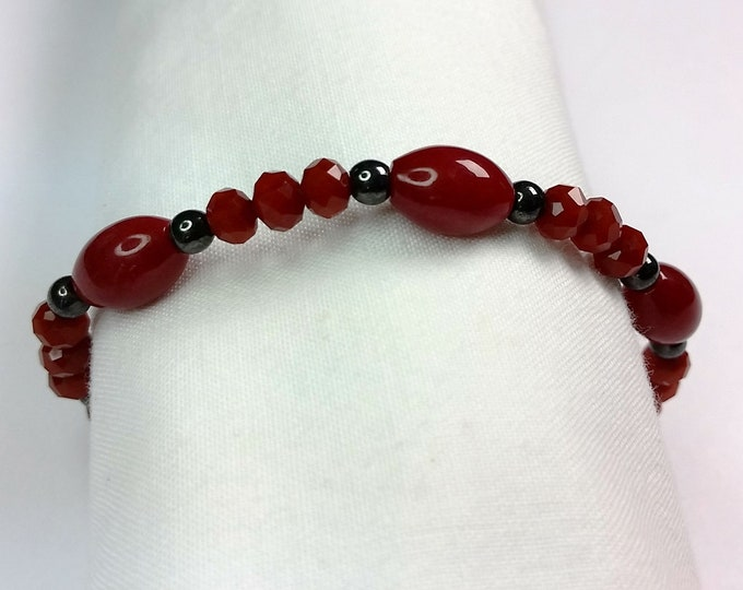 Rich Red Stretch Bracelet with Jade, Crystal and Hematite Beads