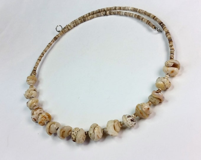 Sea Shell Beaded No-Clasp Choker on Memory Wire - Neutral Color Comfortable All Shell Necklace