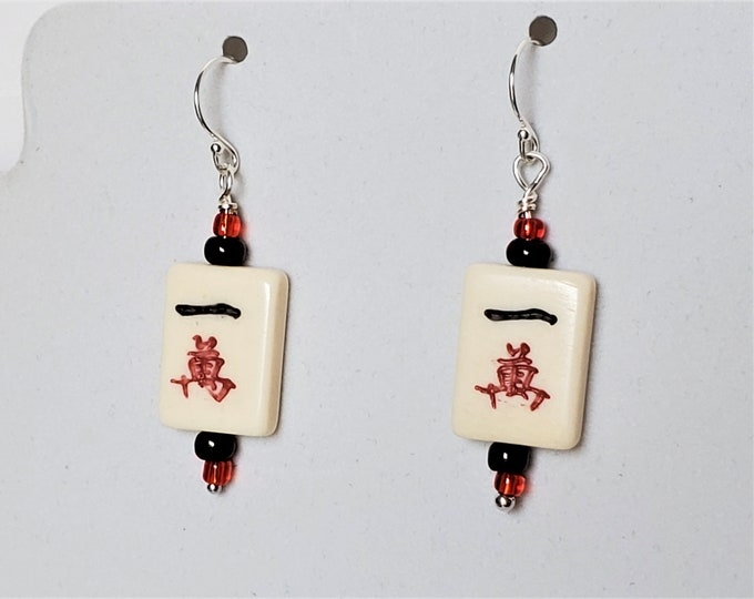 Mahjong Tile Earrings with Red and Black One Crack - Petite Bone Rectangular Earrings -  Chinese Game Earrings Wear for Good Luck