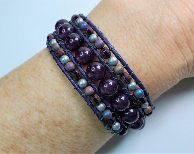 Purple Amethyst, Crystal and Titanium Coated Bead Cuff Bracelet with Antique Silver Button Clasp - Cuff Bracelet w/3 Rows on Purple Leather