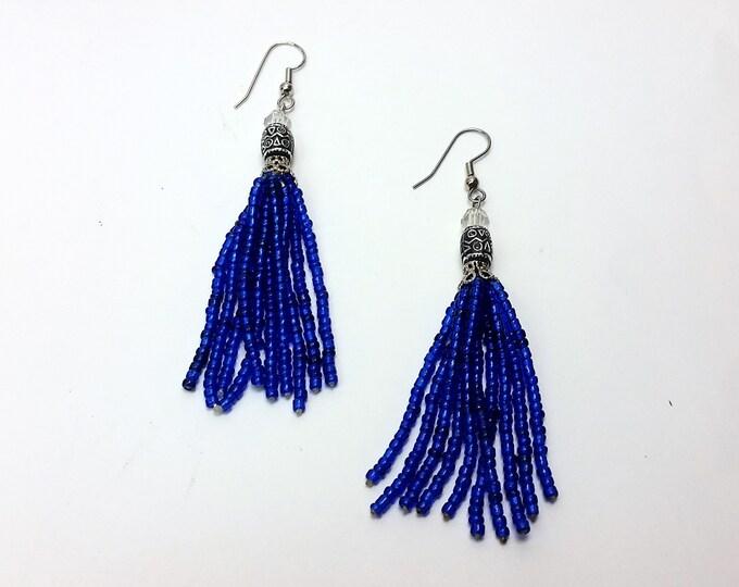 Cobalt Blue Beaded Tassel Earrings - Bright Royal Blue Long Tassel Earrings